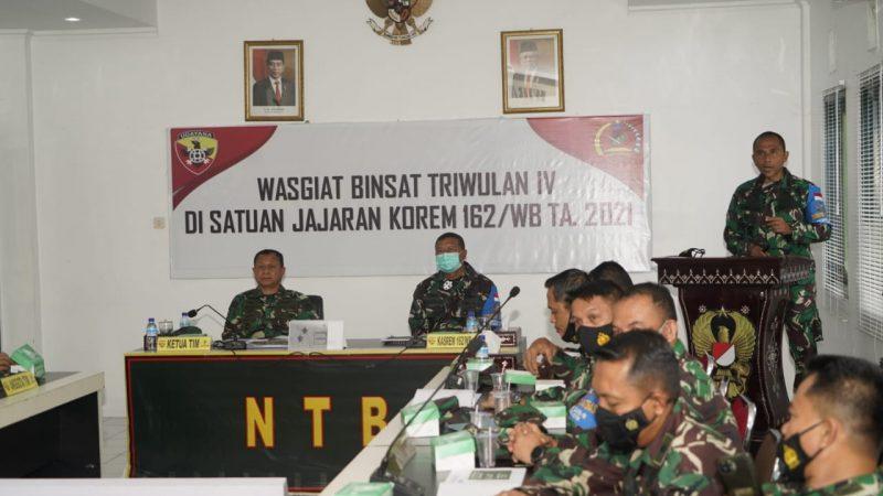 Kunker Waasops Kasad ke Makorem 162/WB Dalam Rangka Evaluasi Binsat.